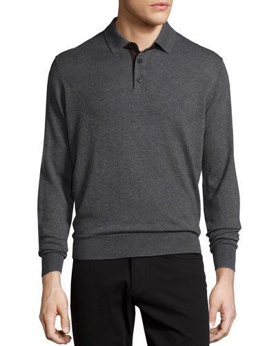 Suede-Placket Cashmere Polo, Gray