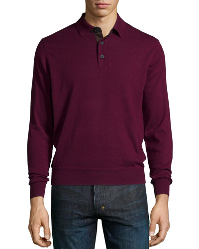 Suede-Placket Cashmere Polo, Shiraz