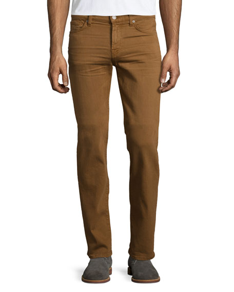 7 For All Mankind Luxe Performance: Slimmy Cognac Denim Jeans, Brown
