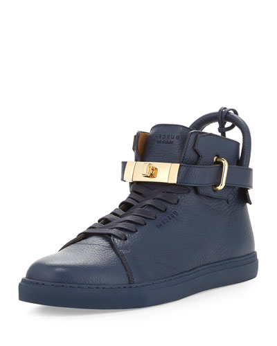 Buscemi	 Leather High-Top Sneaker w/ 18k Gold-Plated Hardware, Ocean Blue