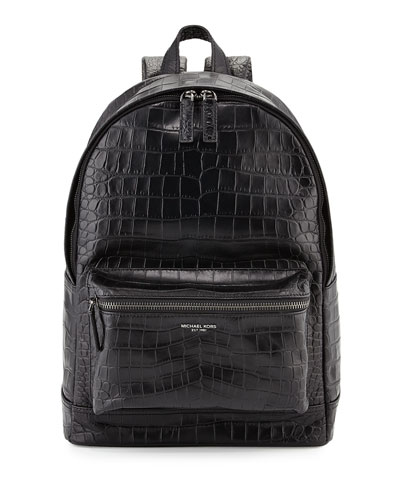 Bryant Men's Crocodile-Embossed Backpack, Black
