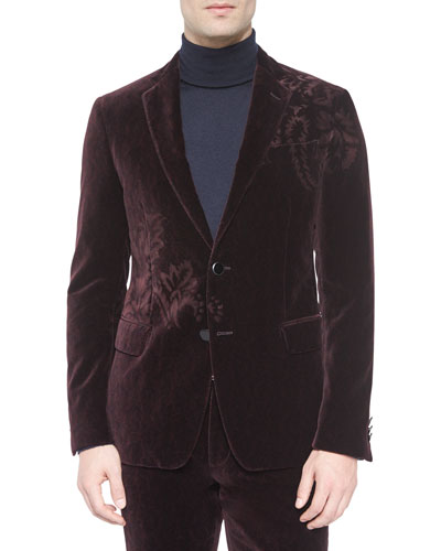 Velvet Two-Button Jacket with Flower-Detail, Burgundy