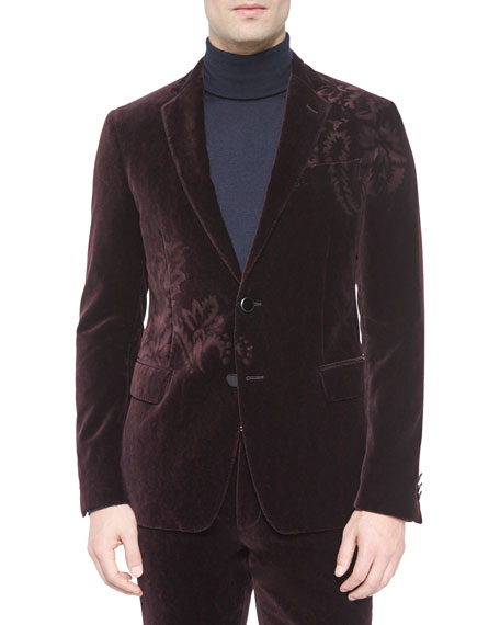 Etro Velvet Two-Button Jacket with Flower-Detail, Burgundy