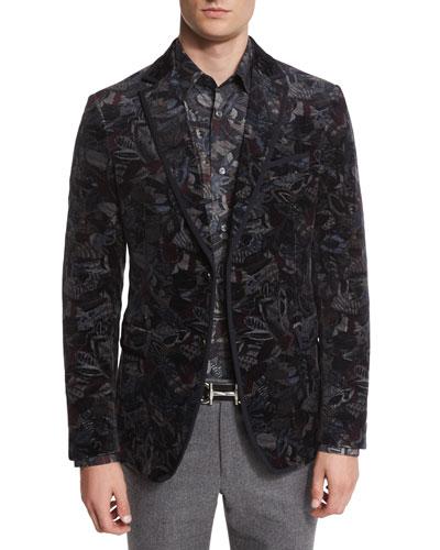 Feather-Print Velvet Evening Jacket, Navy