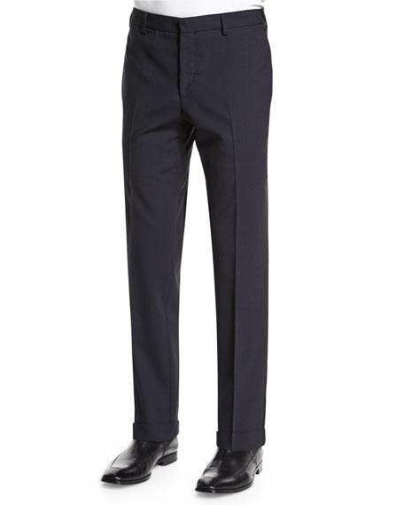Lanvin Side-Stripe Skinny-Leg Wool Trousers, Navy/Black