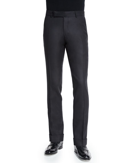 TOM FORD Buckley Base Twill Melange Trousers, Black