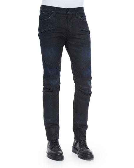 Hudson Jeans Coated Moto Denim Jeans, Black