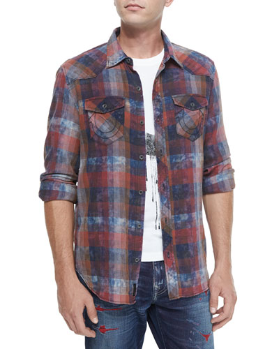 Western-Style Plaid Shirt, Red Pattern