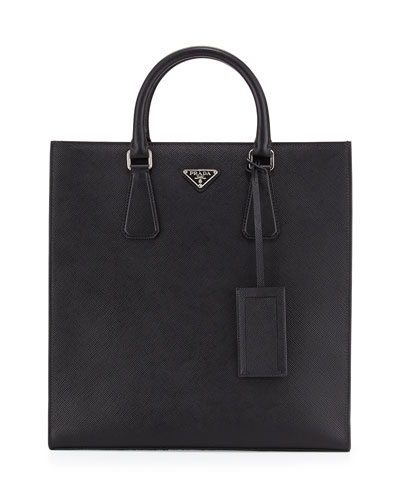 Black Leather Logo Tote Bag, Black