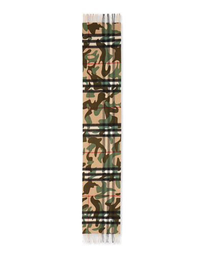 Men's Cashmere Camo-Print Giant Icon Scarf, Green Camo