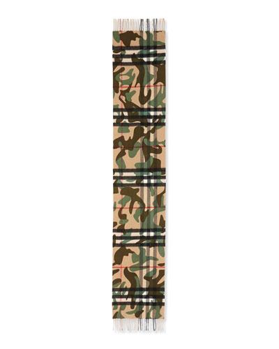 Cashmere Camo-Print Giant Icon Scarf, Green Camo