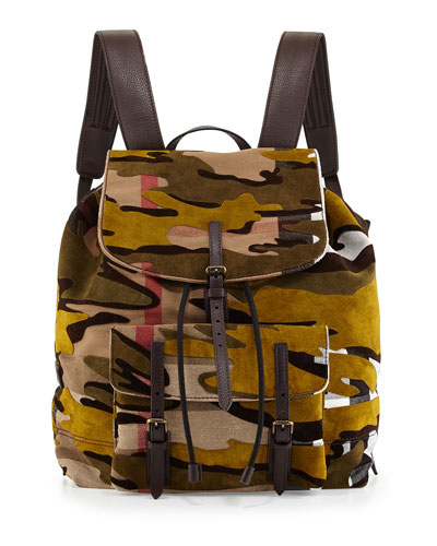 Brookdale Camo-Print Backpack, Dusty/Citrine