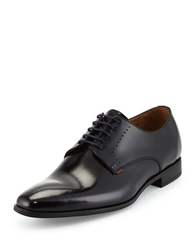 Moore High-Shine Leather Derby Shoe, Black