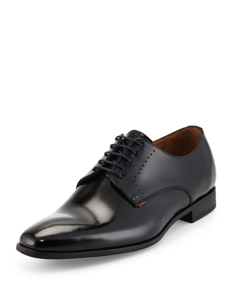 Paul Smith Moore High-Shine Leather Derby Shoe, Black