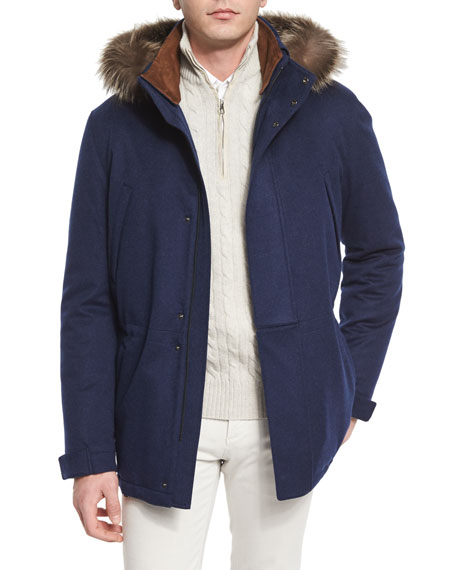 Loro PianaIcer Cashmere Storm Jacket with Fur-Trimmed Hood,