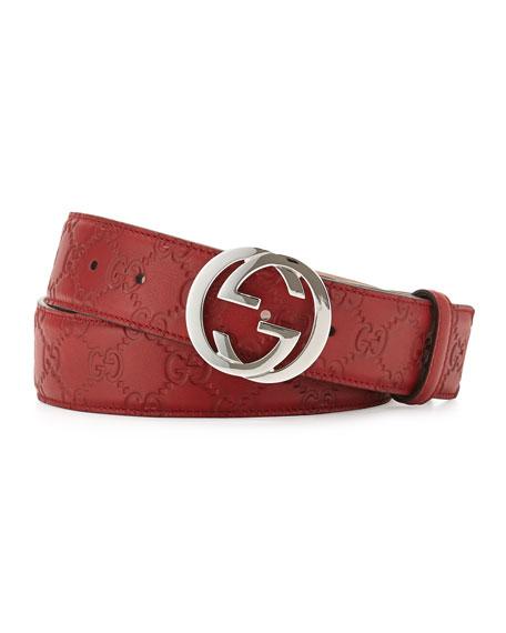 Gucci Interlocking G Leather Belt, Red