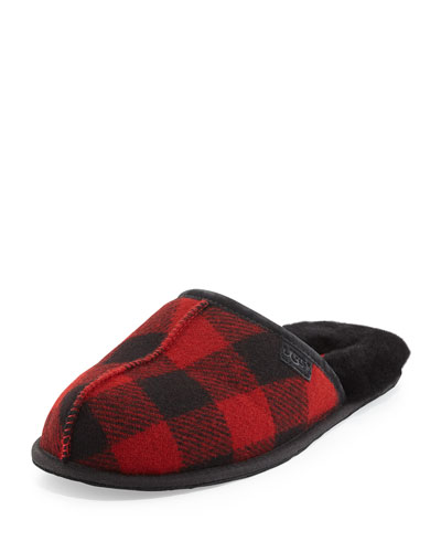 Scuff Buffalo Plaid Slipper, Red/Black