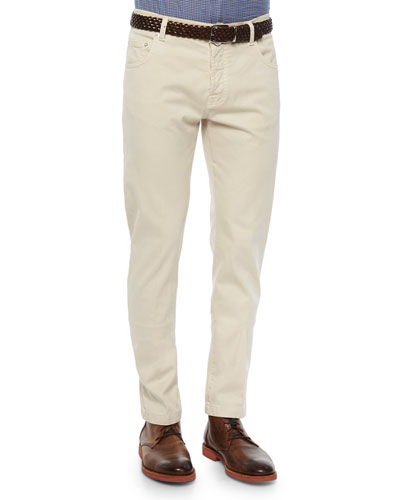 Twill Five-Pocket Pants, Khaki