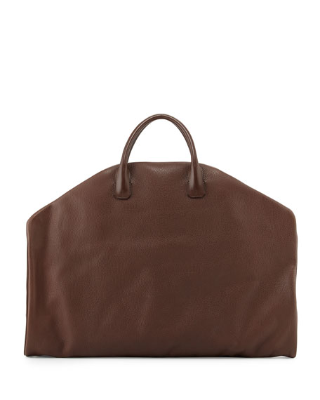 Soft Buckley Leather Garment Bag, Chocolate