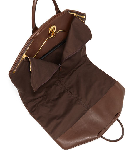 Soft Buckley Leather Garment Bag, Chocolate