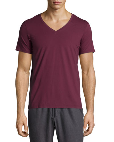Superior Cotton V-Neck Tee, Burgundy