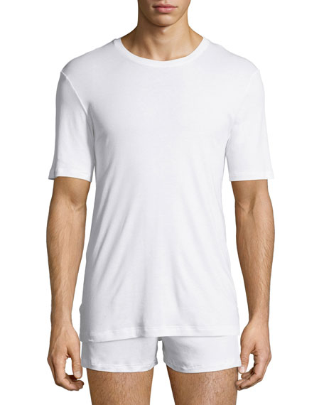 Hanro Sea Island Cotton Crewneck T-Shirt, White