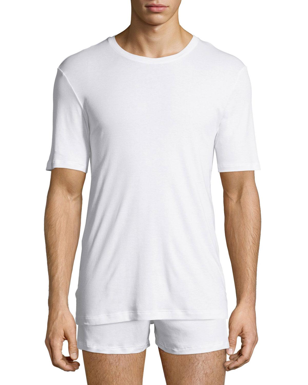 Hanro Sea Island Cotton Crewneck T Shirt White Neiman Marcus