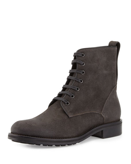 Vince Carter Waxed Carbon Lace-Up Boot, Charcoal