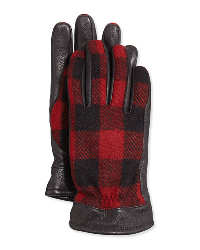 Buffalo Check Leather Gloves