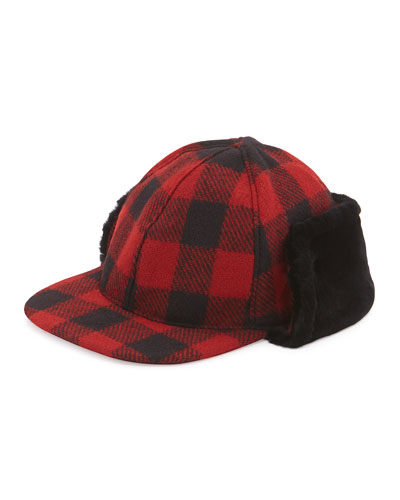 McLain Buffalo Plaid Trapper Hat w/Shearling
