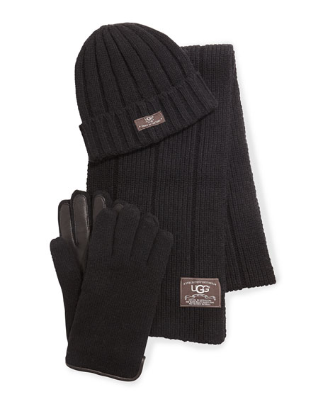 UGG Calvert Ribbed Knit Three-Piece Set, Black