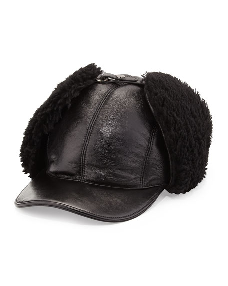 Leather and Shearling Trapper Baseball Cap, Black