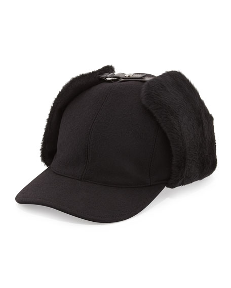 Wool and Shearling Trapper Baseball Cap, Black