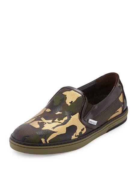 Jimmy Choo Grove Men's Camo-Print Slip-On Sneaker, Olive
