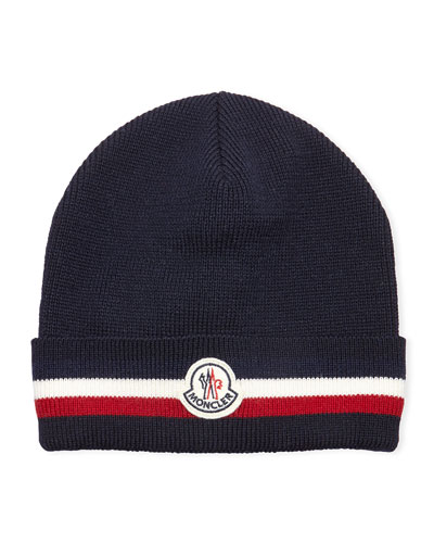 Striped Logo Wool Hat, Navy