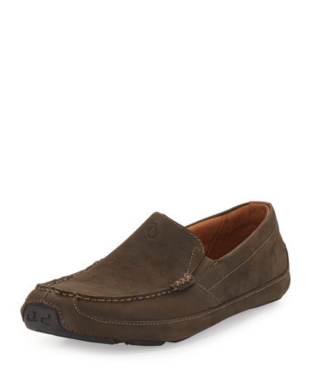 Olukai Akepa Moc Leather Loafer, Seal Brown