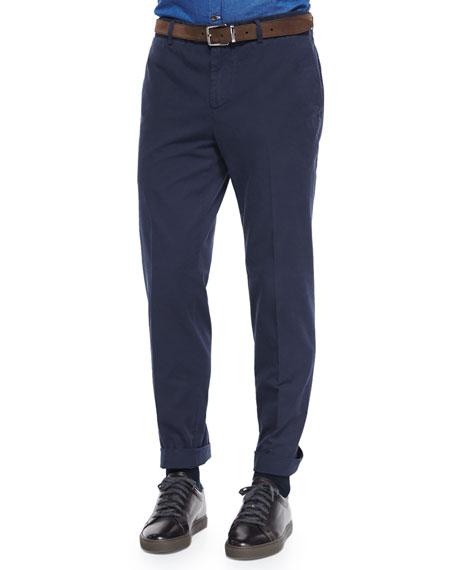 Brunello Cucinelli Flat-Front Cotton Pants, Navy
