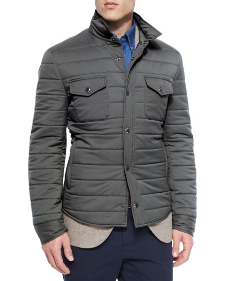Brunello CucinelliMilano Snap-Front Shirt Jacket, Charcoal