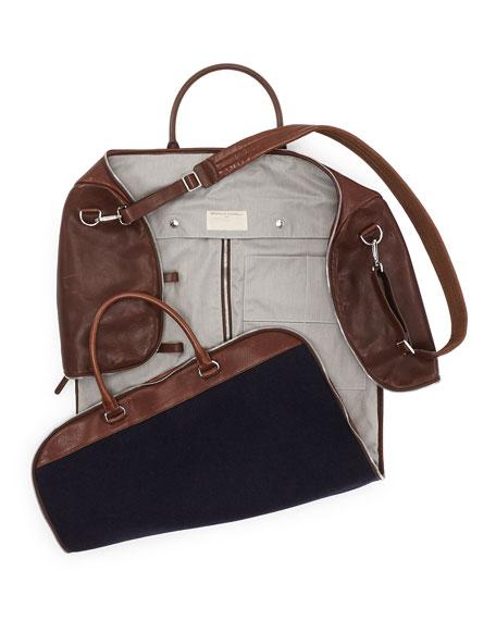 Brunello Cucinelli Buffalo Leather And Flannel Garment Duffel Bag Navy Neiman Marcus
