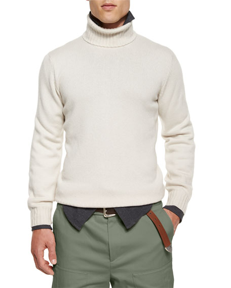 Brunello Cucinelli Cashmere Turtleneck Sweater, Cream