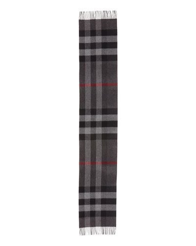 Men's Half Mega Check Cashmere Scarf, Charcoal