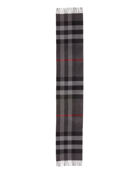 Burberry Men's Half Mega Check Cashmere Scarf, Charcoal