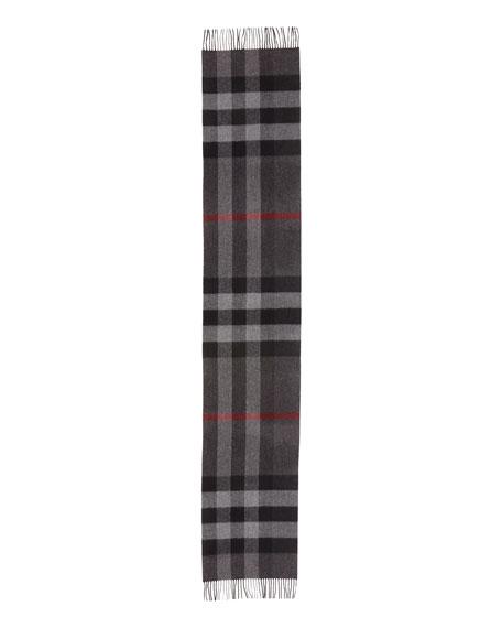 Men's Half Mega Check Cashmere Scarf, Charcoal