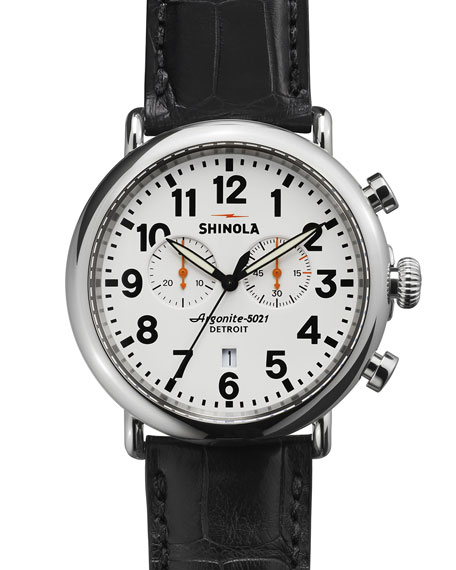 Shinola 47mm Runwell 2-Eye Chronograph Watch, Brown/White
