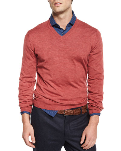Wool-Blend V-Neck Sweater, Red