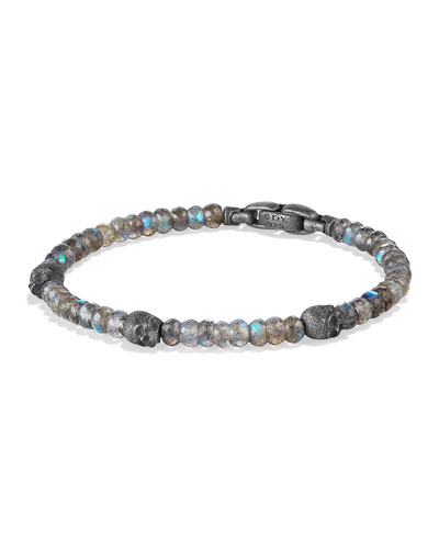 Men's Beaded Skull Station Bracelet
