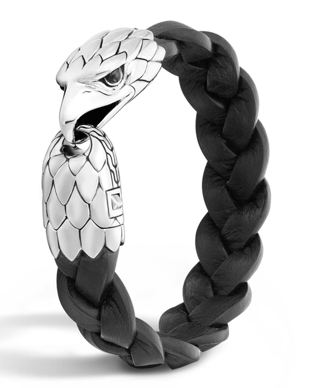 Men S Silver Eagle Head Leather Bracelet