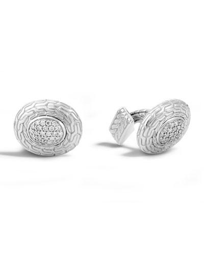 Diamond & Classic Chain Oval Cuff Links