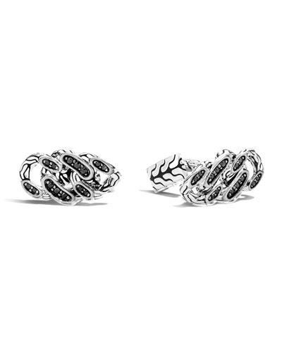 Gourmette Classic Chain Silver & Black Sapphire Cuff Links