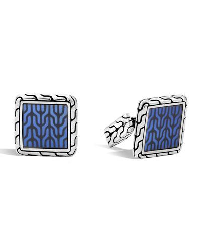 Blue Enamel Square Cuff Links